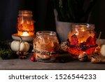 Autumn Lantern Jars Decorated...