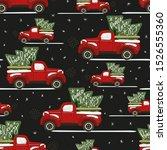 christmas truck dark seamless... | Shutterstock .eps vector #1526555360