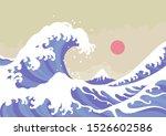 big oriental ocean wave  sun... | Shutterstock .eps vector #1526602586