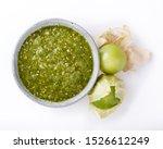 Tomatillo Salsa Verde. Bowl Of...