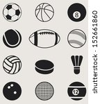 sports balls icons set. vector ... | Shutterstock .eps vector #152661860