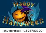 simple cat with a magic hat and ... | Shutterstock .eps vector #1526703320