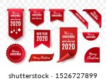 christmas tags set. red scrolls ... | Shutterstock .eps vector #1526727899