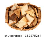Full basket of different sliced ??bread. - stock photo