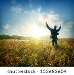 man in the field at sunrise in... | Shutterstock . vector #152683604