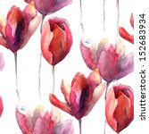 Seamless Wallpaper With Tulips...