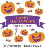 halloween pumpkin ghost...   Shutterstock .eps vector #1526854226