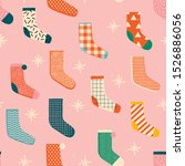 vintage christmas socks with... | Shutterstock .eps vector #1526886056