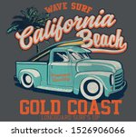 vector surf car and palm tree... | Shutterstock .eps vector #1526906066