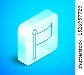isometric line flag icon...