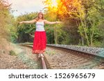 young lady in red dress walking ... | Shutterstock . vector #1526965679