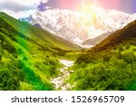 mountain stream and snow capped ... | Shutterstock . vector #1526965709