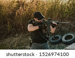 armed guy shooting with rifle. | Shutterstock . vector #1526974100