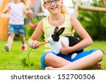 happy girl or daughter with her ... | Shutterstock . vector #152700506