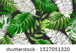 tropical palm leaves background....   Shutterstock .eps vector #1527051320