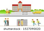 school building and cheerful... | Shutterstock .eps vector #1527090020
