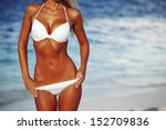 woman in bikini on sea... | Shutterstock . vector #152709836