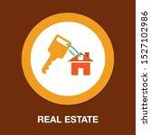 vector house key, real estate icon - house security concept - stock vector