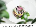 Stock photo appetizer food salted herring butter and red onion on white plate selective focus horizontal 1527106223
