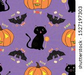 fun hand drawn halloween design ... | Shutterstock .eps vector #1527197303