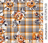 tartan plaid with roses... | Shutterstock .eps vector #1527291710