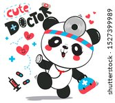cute panda bear doctor holding... | Shutterstock .eps vector #1527399989