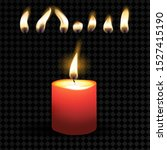 isolated red burning candles on ... | Shutterstock .eps vector #1527415190