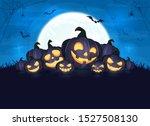 happy pumpkins on halloween... | Shutterstock . vector #1527508130