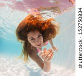 Underwater Woman Portrait In...