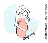 young beautiful pregnant woman... | Shutterstock .eps vector #1527546029