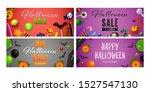 happy halloween red  violet... | Shutterstock .eps vector #1527547130