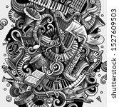 cartoon doodles disco music... | Shutterstock . vector #1527609503