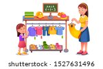 mother   daughter kid choosing... | Shutterstock .eps vector #1527631496