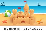 sandcastle with towers   flags...   Shutterstock .eps vector #1527631886