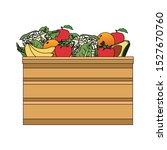 wooden box with fruits icon... | Shutterstock .eps vector #1527670760