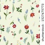 retro vintage floral seamless... | Shutterstock . vector #1527675773