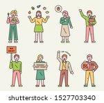 people are doing vegetarian...   Shutterstock .eps vector #1527703340