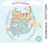 cute vector zodiac signs with... | Shutterstock .eps vector #152772260