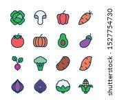 vegetables line icons set  fill ... | Shutterstock .eps vector #1527754730
