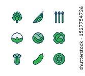 vegetables line icons set  fill ... | Shutterstock .eps vector #1527754736