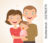 new family with girl. happy... | Shutterstock .eps vector #152782574
