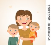 mother with children. happy... | Shutterstock .eps vector #152783018