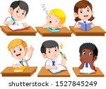 happy kids or children sitting... | Shutterstock .eps vector #1527845249