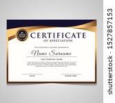 elegant blue and gold diploma... | Shutterstock .eps vector #1527857153