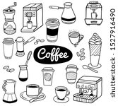 hand drawn coffee elements. set ...   Shutterstock .eps vector #1527916490
