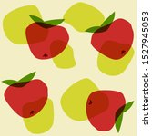 hand drawn stylized red apple... | Shutterstock .eps vector #1527945053