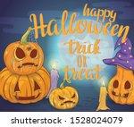 happy halloween trick or treat. ... | Shutterstock .eps vector #1528024079