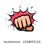 Fist Punching In Pop Art Style...