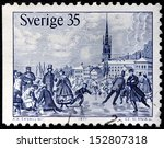 Small photo of SWEDEN - CIRCA 1971: a stamp printed by SWEDEN shows Skaters on Malar bay in Stockholm 1867. Engraving after woodcut by Knut Alfred Ekwall, circa 1971.