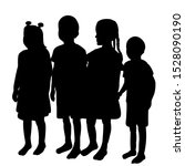 isolated  silhouette children... | Shutterstock .eps vector #1528090190